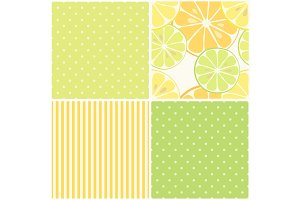Cute seamless patterns of citrus fruits lemon and lime with simple textures of friendly colors