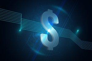 Dollar sign on futuristic background