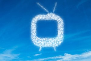 White television in sky