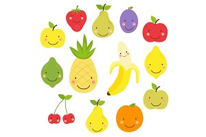 Cute World Vegan Day card with smiling characters of fruits