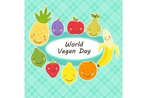 Cute World Vegan Day card with smiling characters of fruits around a plate