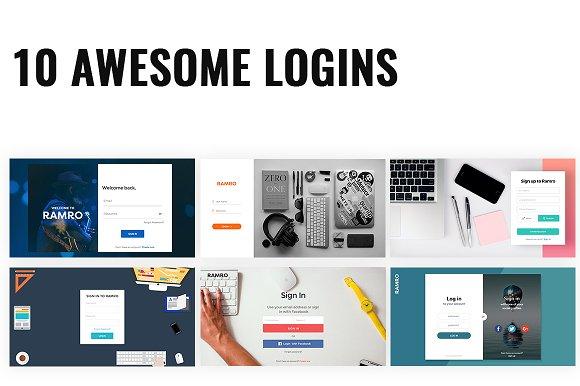 Ramro Web UI Kit Login Signups