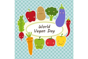 Cute World Vegan Day card with smiling characters of veggies