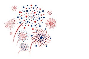 Vector fireworks on white background