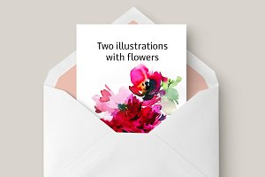 Two illustrations with flowers