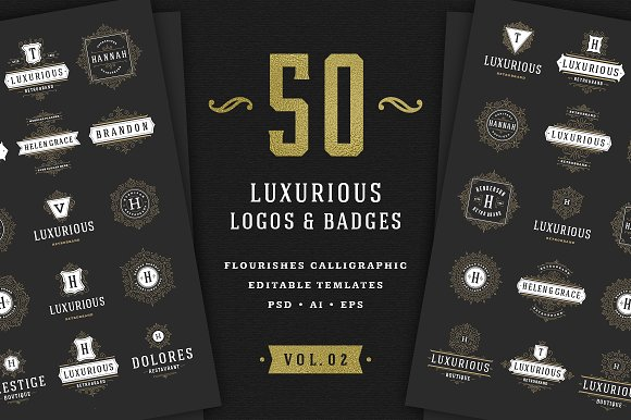 50 Ornament Logos Badges