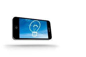 Cloud light bulb on smartphone screen