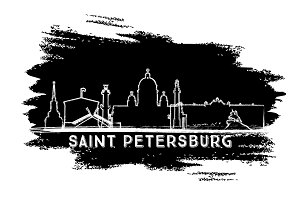 Saint Petersburg Skyline Silhouette.