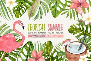 TROPICAL SUMMER watercolor set