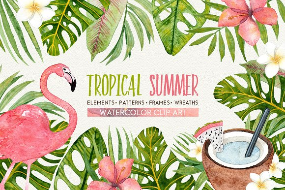 TROPICAL SUMMER Watercolor Set
