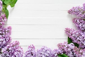 Lilac flowers frame on white wood