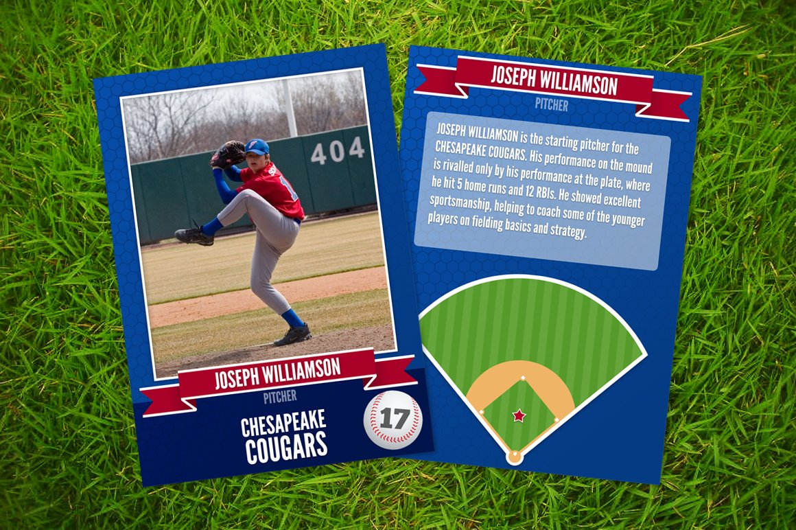 Ace Baseball Card Template Card Templates Creative Market - Baseball card template photoshop