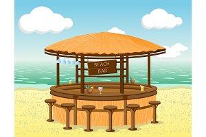 Beach bar on the coastline.