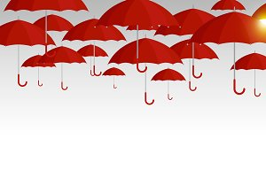 Vector red umbrella background