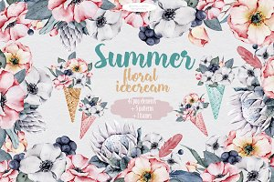 Floral icecream big watercolor set