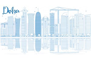 Outline Doha skyline