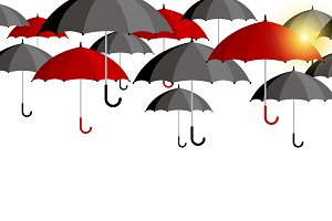 Vector red and black umbrellas
