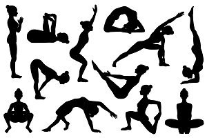 25 Yoga poses. Silhouettes. Part 3