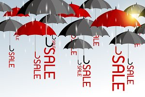 Red and black umbrellas with sale