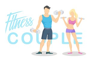 Fitness couple. Vector illustration.