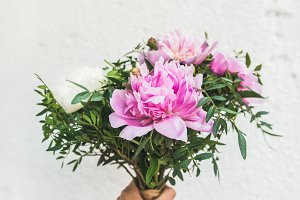 Bouquet of peony flowers