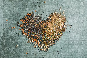 Grains & cereals in shape of heart