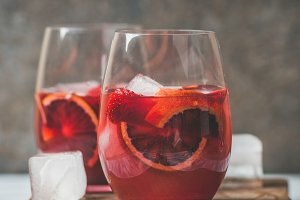 Summer Sangria in glasses with ice