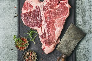 Fresh raw beef uncooked t-bone steak
