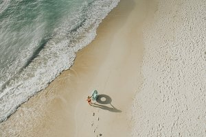 Aerial View of Girl on the Beach