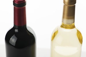 Close-up of bottles of different wine