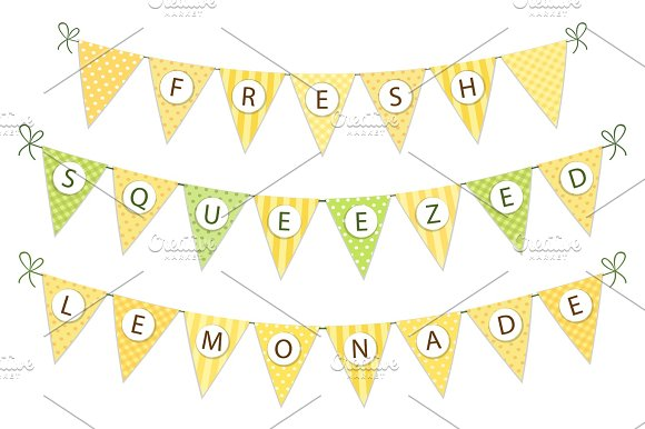 Cute Vintage Textile Green And Yellow Shabby Chic Bunting Flags For Summer Festivals Birthday Baby Shower