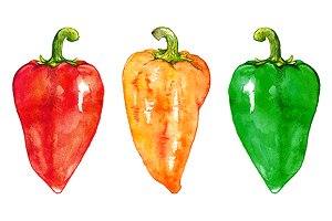 Watercolor sweet bell Bulgarian pepper vegetable set isolated
