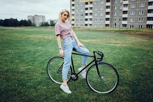 Woman posing on cycling