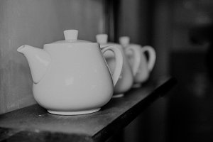 white teapots, black and white