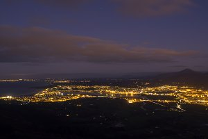 Night landscape of towns and coast