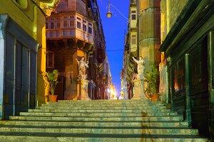 Decorated street in old town of Valletta, Malta