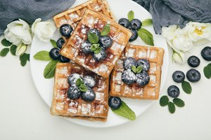 Belgian waffles with blueberries for breakfast