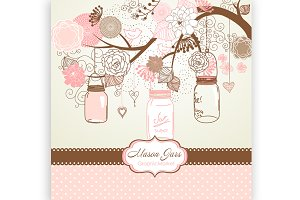 Mason Jars, card template, patterns