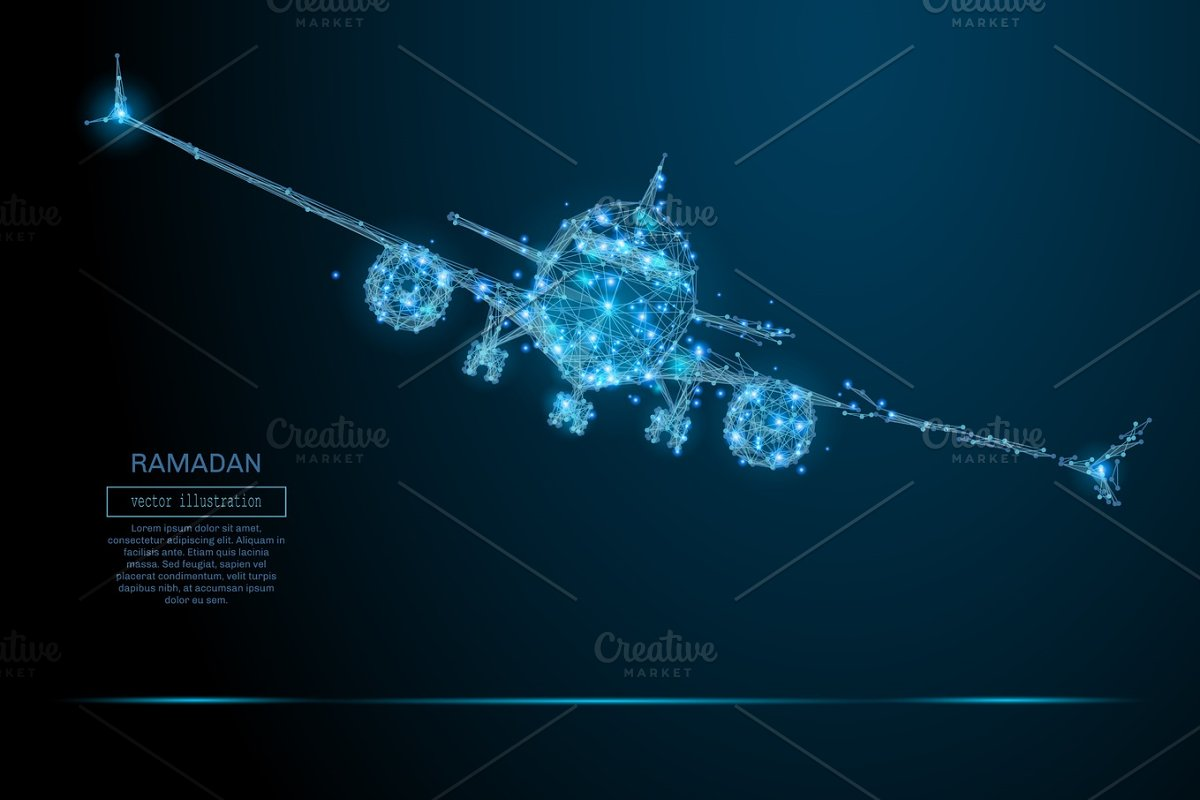 airliner low poly blue