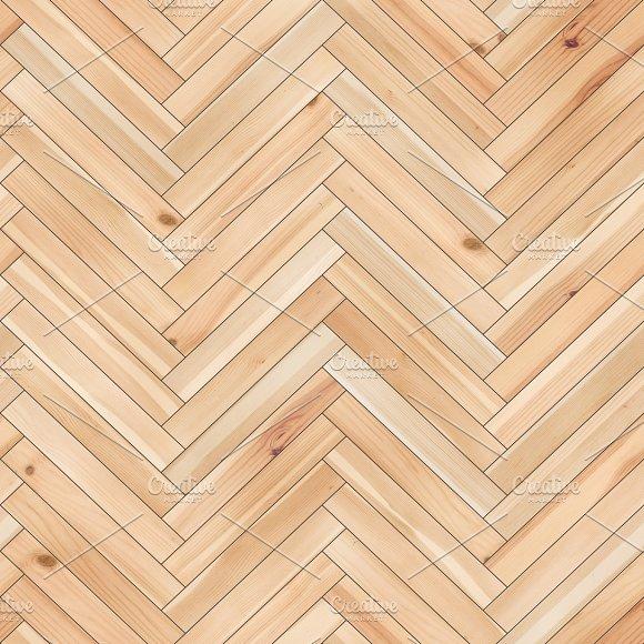 Seamless wood parquet texture (herringbone sand color) in Textures