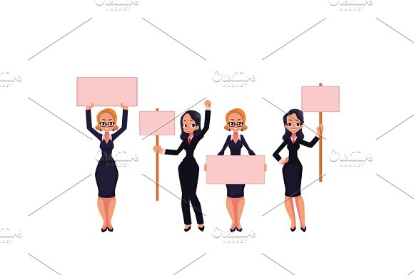 Girls, women, businesswomen in business suits holding empty boards, strike