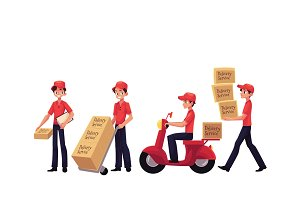 Young man working as courier, delivering goods, parcel, boxes
