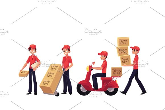 Young Man Working As Courier Delivering Goods Parcel Boxes