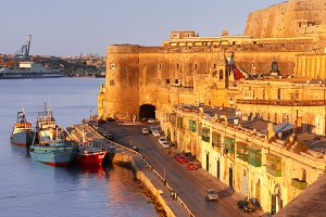 Ancient fortifications of Valletta at dawn. Malta.