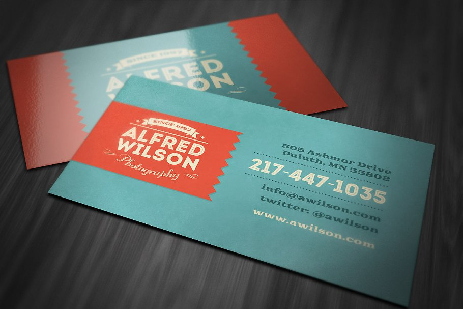 Retro Business Card 2 in Business Card Templates - product preview 8