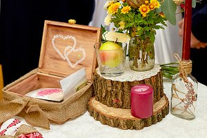 Tree blocks and yellow bouquets