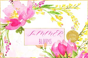 Summer blooms. watercolor clipart