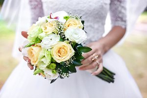 Bride's hold gorgeous bouquet