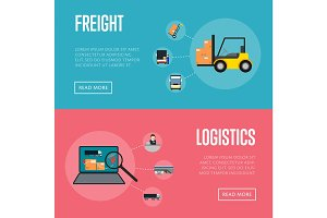 Logistics and freight shipment banners set