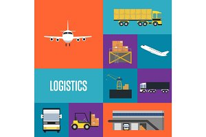 Logistics and freight transportation icon set